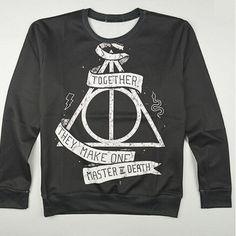 Harajuku new autumn women's 3D sweatshirts print & Deathly Hallows hogwarts sweatshirt black pullover hoody