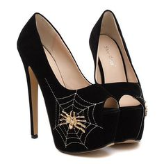 Elegant Women's Peep Toed Shoes With Spider Pattern and Super High Heel Design