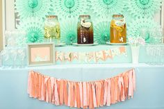 coral and mint bridal shower | This gorgeous peach and mint baby shower for twins was inspired by the ...