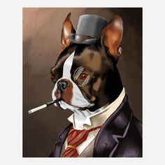 Boston Terrier Print, $15, now featured on Fab.