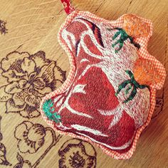 Nathalie Lete embroidered steak ornament