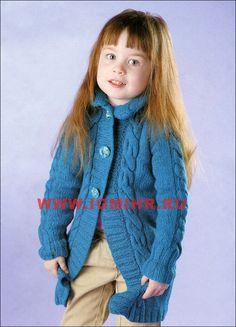 Теплое синее пальто с косами для девочки 3-4 лет. Спицы