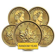 Lot of 5 - oz Canadian Gold Maple Leaf Coin (Random Year) Bullion Coins, Silver Bullion, Maple Leaf Gold, Mint Bar, Gold Coins, Precious Metals, Personalized Items, Random, Casual