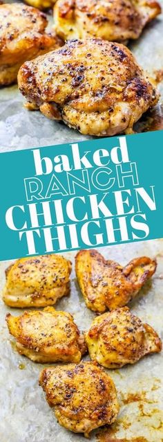 Low Carb Chicken Thigh Recipe, Easy Baked Chicken Thighs, Chicken Thighs Dinner, Baked Ranch Chicken, Chicken Thigh Recipes Oven, Oven Chicken, Boneless Chicken, Bone In Chicken Thighs, Low Calorie Chicken Recipes