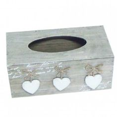 25cm Wooden Heart Shabby Chic French Vintage Style Tissue Box: Amazon.co.uk: Kitchen & Home
