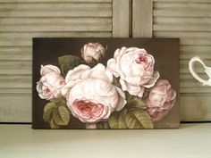 Rosen Bild Gemälde Shabby Chic rose braun Landhaus Vintage Thomas Rolly