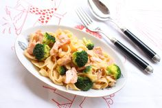 Salmon and broccoli pasta!