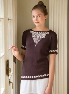 Cosmopolitan Peasant Blouse Pattern by Gini Woodward; 2014 | InterweaveStore.com. Love the colorwork on this pattern!