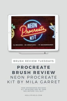 This week's Procreate brushes review by Holly Pixels features these super fun neon Procreate brushes by Mila Garret that be purchased at Creative Market. Every Tuesday I pick a new brush set for Procreate to purchase and show you what you're getting. #procreate #procreatelettering #ipadlettering #hollypixels #creativemarket…