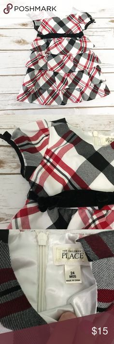 CHILDREN'S PLACE [baby girl] Plaid Holiday Dress Red, black and white plaid Holiday Dress. My little girl wore this once for Christmas last year. Has a black sash around the waist. Excellent condition. The Children's Place Dresses Formal