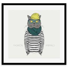 Whimsical Animals - Jim, Framed Print, 30x40cm