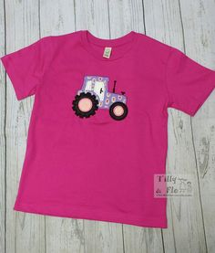 Pink Tractor T Shirt - Age - Purple Tractor - Applique - Personalised - Girls Top - Kidswear - Earth Positive - Organic Cotton - Vegan by TillyandFlo on Etsy Pink Tractor, My T Shirt, Tractors, Organic Cotton, Applique, Earth, Age, T Shirts For Women, Vegan