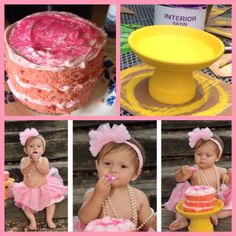 DIY smash cake & mini cake stand for Lia's 1st birthday!  Cake stand: Terra Cotta pot & saucer, paint, glue  Cake: Bake cake (I did strawberry) in sheet pan, use large circular cookie cutter to cut out layers, spread icing (I put pink food coloring in mine) between layers and on top of cake, decorate with sprinkles/icing/confetti.... Voila!