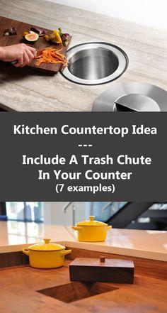Idea de diseño de cocina: incluya una tolva de basura en su mostrador Luxury Kitchen Design, Best Kitchen Designs, Luxury Kitchens, Cool Kitchens, Smart Kitchen, Kitchen Tops, Kitchen Island, Home Decor Kitchen, Diy Kitchen
