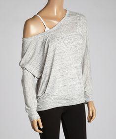 Look at this #zulilyfind! Black Marble Off-Shoulder Tee - Women & Plus by 717 Yoga Couture #zulilyfinds
