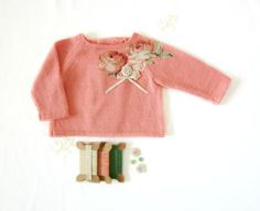 Knitted baby sweater in coral with vintage flowers and buttons. Baby girl. 100% cotton. READY TO SHIP size newborn. on Etsy, $50.00
