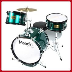 Mendini by Cecilio 16 inch 3-Piece Kids / Junior Drum Set with Adjustable Throne, Cymbal, Pedal & Drumsticks, Metallic Green, MJDS-3-GN - Fun stuff and gift ideas (*Amazon Partner-Link)
