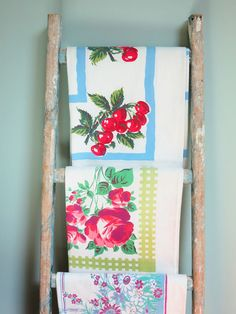 Vintage Tablecloths Displayed on a Vintage Ladder, If you want to see fabulous collections displayed well, make sure to stop by the T-Cozy. ~Mary Wald's Place ~ The Smile Factor - The T-Cozy