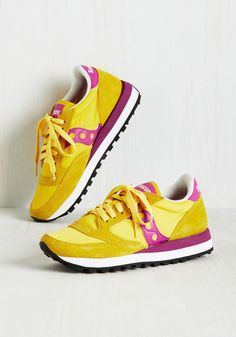 Watch as your fondness for fashion and fitness combine to guide you to the perfect sneaker by Saucony! With breathable-nylon and suede uppers, shock-absorbing footbeds, and removable insoles, these daffodil and berry runners are designed to pass the test of time - and your love - with flying colors.