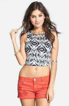 Lily White Print Crop Tank (Juniors) (Online Only) available at #Nordstrom