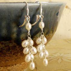 Cluster de pendientes de perlas pendientes de perlas por fineheart