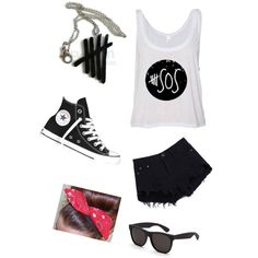 5sos by augustbb on Polyvore featuring polyvore, fashion, style, RetroSuperFuture and Converse Summer Fashion For Teens, Teen Fashion, 5sos, Polyvore Fashion, Converse, Shoe Bag, Collection, Shopping, Design