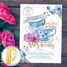 Bridal Shower Tea Party Invitation // Tea Party Invitation // Bridal Shower Tea Invitation // Watercolor Tea Party Invitation // Orchid Invitation // Orchid Bridal Shower Invitation // China Print Invitation // Tea Party Invitations // Purple Blue Gold Glitter Invitation // Watercolor Floral Bridal Shower Invitation // Vintage Tea Party Invitation by socalcrafty on Etsy. Printed on card stock or printable invitations DIY. $16+