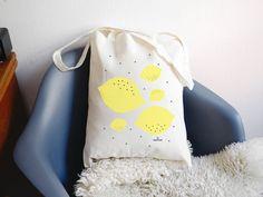 Tote bag CITRON coton  sac en coton naturel par greenandpaper