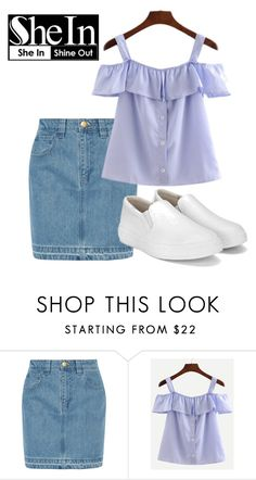 """SHE IN SHINE OUT - Blue Striped Shirt"" by tiinaa02 ❤ liked on Polyvore featuring Topshop Unique"