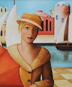 Girl with umbrella 60 x 50 cm.