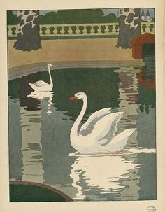 """Le Cygne from Le Buffon Choisi by Benjamin Rabier,  Garnier, Paris, 1924,  Children's humorous picture book of animals.  Title  (roughly """"selections from Buffon"""") refers to Georges-Louis Leclerc, Comte de Buffon (1707-1788,) naturalist of the French   Enlightenment."""