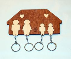 Kreatív fali kulcstartó,család , Dekoráció, Otthon, lakberendezés, Tárolóeszköz, Meska