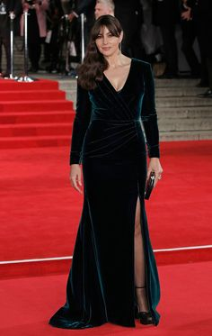Monica Bellucci Wrap Dress - Monica Bellucci kept it timeless in a dark teal velvet wrap gown by Ralph & Russo Couture at the royal film performance of 'Spectre.'