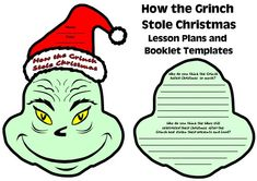 Fun activity for How the Grinch Stole Christmas:  Students create a flip booklet in the shape of the Grinch's head.  These Grinch templates are available on Unique Teaching Resources.
