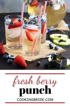Fresh berry punch is a fizzy, fruity drink made with white grape juice, lemon-lime soda and fresh fruit. Kid-friendly or substitute sparkling wine for an adult version. Fruity Drinks, Dessert Drinks, Berry Punch, Apple Seeds, Summer Berries, Grape Juice, Sparkling Wine, Pink Lemonade, Health