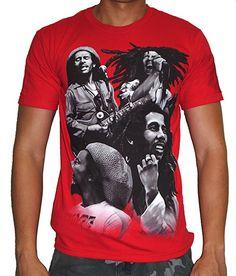 Bob Marley Quad Photo Adult Red T-Shirt L