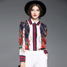Europe American mulberry silk woman blusa high quality fashion turn down collar single-breasted long sleeve ladies shirt E377