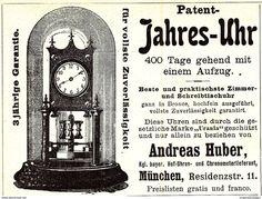 Werbung - Original-Werbung/ Anzeige 1900 - PATENT JAHRES UHR / ANDREAS HUBER - MÜNCHEN - ca. 90 x 65 mm