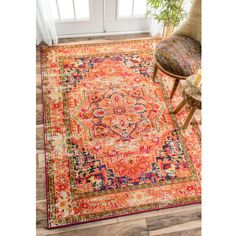 nuLOOM Traditional Flower Medallion Orange Rug (5'3 x 7'7) (£100) ❤ liked on Polyvore featuring home, rugs, flower stem, medallion rug, orange area rug, blossom rug and orange rug