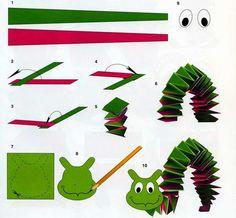 Поделки из бумаги для детей. гусеница