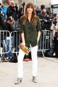 Caroline de Maigret Style staple: A menswear-inspired shirt.