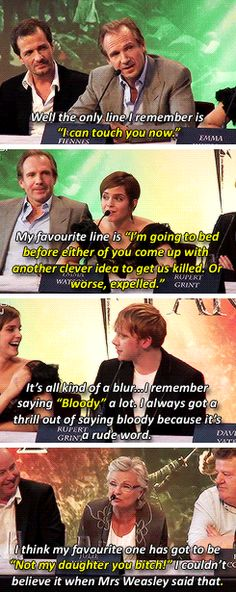 "hermiionegrangers: ""The Harry Potter cast and their favourite lines"""