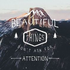 """ssparrowandthewolf: """" beautiful things don't ask for attention — sean o'connell, the secret life of walter mitty. """" typography by ssparrowandthewolf / photo by thecraziethewizard """" """" Great Quotes, Quotes To Live By, Me Quotes, Inspirational Quotes, Selfie Quotes, Inspire Quotes, Motivational, The Words, Cool Words"""