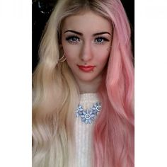 @_aimeepotter_ looks #amazing with #twotone hair. To get her style, bleach your whole head and then apply a mix of #CottonCandyPink and #Pastelizer on the left side. Use #VirginSnow on the right side for a lovely #platinumblonde.