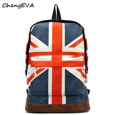 Casual Hot Sale Attractive UK British Flag Union Jack Style Backpack Shoulder School Bag BackPack Canvas Free Shipping Dec 22