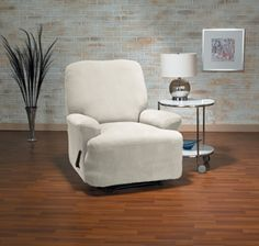 Eastwood Bone Recliner Slipcover, plush velvety surface, form fit slip cover design, living room, beautiful interior design, chic home decor