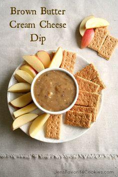 Brown Butter Cream Cheese Dip from Jen's Favorite Cookies Thanks Dillon Frank ! Recipes Appetizers And Snacks, Snack Recipes, Cooking Recipes, Dip Recipes, Dessert Recipes, Chutney, Vinaigrette, Sauces, Caviar