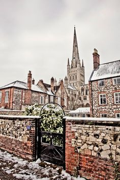 Norwich Cathedral in Winter, Norfolk, UK built in 1096 and completed in 1145/ <3