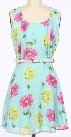Blue Floral Belted Sleeveless Dress