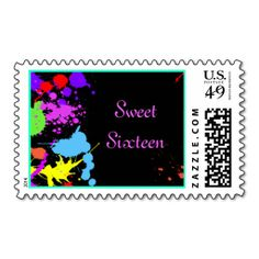 Neon Paint Splatter Sweet Sixteen Bat Mitzvah Postage Stamps. Wanna make each letter a special delivery? Try to customize this great stamp template and put a personal touch on the envelope. Just click the image to get started!